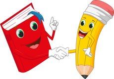 O lápis e os livros dos desenhos animados agitam as mãos Imagem de Stock