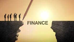 O lápis escreve 'a FINANÇA', conectando o penhasco Homem de negócios que cruza o penhasco, conceito do negócio ilustração stock