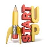 O lápis sob a forma do foguete com texto COMEÇA ACIMA 3D Fotos de Stock Royalty Free