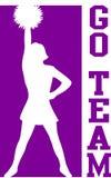 O líder da claque vai a equipe Purple/EPS Imagens de Stock Royalty Free