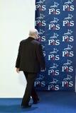 O líder da lei de ordenação do partido do Polônia e justiça, Jaroslaw Kaczynski, assistem a uma conferência da imprensa imagens de stock royalty free