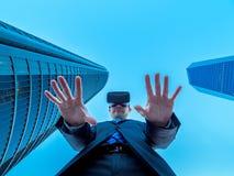 O líder do negócio no Cyberspace e na realidade virtual imagem de stock