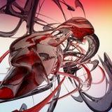 O líquido abstrato vermelho acena 3D rendido ilustração stock