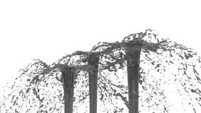 O líquido bonito do pulverizador da fonte gosta do suco cinzento 3d no fundo branco com máscara da alfa do uso do canal alfa Part ilustração stock