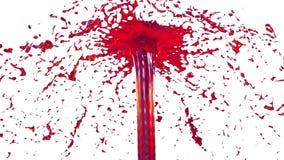 O líquido bonito do pulverizador da fonte gosta do suco vermelho 3d no fundo branco com máscara da alfa do uso do canal alfa Part video estoque