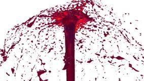 O líquido bonito do pulverizador da fonte gosta do suco vermelho 3d no fundo branco com máscara da alfa do uso do canal alfa Part vídeos de arquivo