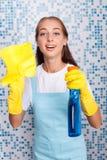 O líquido de limpeza novo atrativo está espanando sua casa Imagem de Stock
