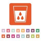 O líquido no ícone de vidro Água e bebida, símbolo do aqua liso Imagens de Stock Royalty Free
