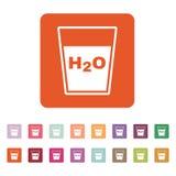 O líquido no ícone de vidro Água e bebida, símbolo do aqua liso Fotos de Stock Royalty Free