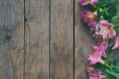 O lírio cor-de-rosa bonito floresce o fundo para o aniversário, dia do ` s da mãe, dia do ` s do Valentim, o 8 de março, cartão d Fotos de Stock Royalty Free