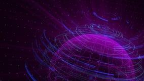 O laço digital do fundo da distorção de vidro do globo, 3d abstrato rende, contexto gerado por computador ilustração stock