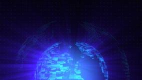 O laço digital do fundo da distorção de vidro do globo, 3d abstrato rende, contexto gerado por computador ilustração royalty free