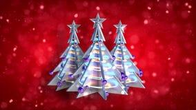 O laço res da árvore do xmas da decoração do Natal brilha v4 video estoque