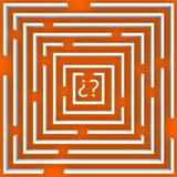 O labirinto da dúvida sobre a laranja Foto de Stock