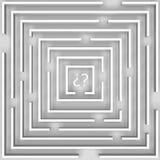 O labirinto da dúvida sobre o branco Imagens de Stock Royalty Free
