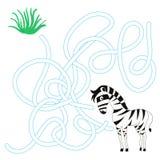 O labirinto do jogo encontra um vetor da zebra da maneira Imagem de Stock