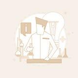 O laboratório de Working Research Chemical do cientista dilui a linha ilustração royalty free