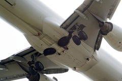 O lado de baixo de um avião moderno Fotos de Stock