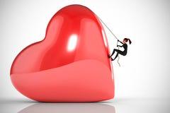 O ladrão da mulher escala um coração grande Imagens de Stock