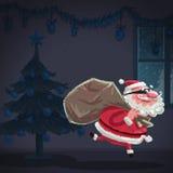 O ladrão de Santa Claus dos desenhos animados está roubando uma casa no Natal Foto de Stock Royalty Free