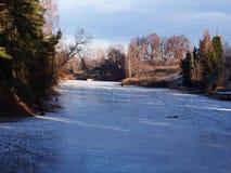O lago ? coberto com o gelo tempo ensolarado Detalhes e close-up foto de stock royalty free