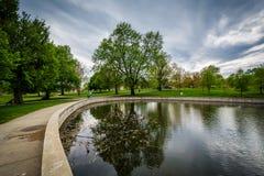 O lago em Patterson Park, em Baltimore, Maryland fotografia de stock royalty free