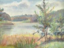 O lago em umas horas de verão ilustração royalty free