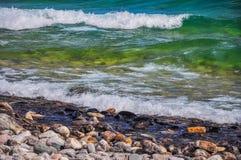O Lago Huron em Bruce Peninsula National Park, Ontário, Canadá imagem de stock