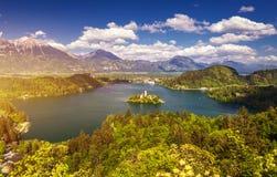 O lago sangrou com a igreja do St Marys da suposi??o na ilha pequena Sangrado, Slovenia, Europa A igreja da suposi??o, sangrou, foto de stock