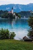 O lago sangrou a pesca Fotos de Stock Royalty Free
