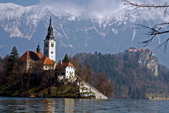O lago sangrou, Slovenia Imagem de Stock