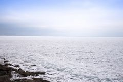 O Lago Superior congelado Foto de Stock Royalty Free