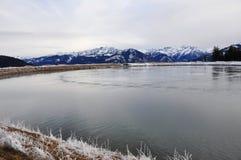 O lago water Reservoir, Schmittenhöhe, Zell Am vê, Áustria Fotografia de Stock