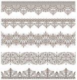 O laço vitoriano da antiguidade oriental dos elementos do projeto do vintage dos ornamento limita os ornamento árabes e ondula Imagens de Stock Royalty Free
