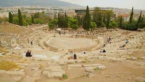 O lapso de tempo da opinião de muitos visitantes permanece do teatro do grego clássico de Dionysus video estoque
