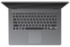 O laptop, cobre abaixo da vista, teclado, ilustração realística do vetor foto de stock royalty free