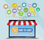 O laptop com toldo e a cesta na linha compram, vetor do conceito do comércio eletrônico dos desenhos animados ilustração royalty free