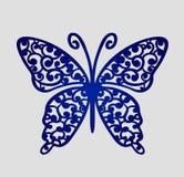 O laser cortou cartões do lugar do casamento, borboleta do entalhe do vetor Fotos de Stock Royalty Free