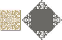 O laser cortou o teste padrão para o cartão do convite para o casamento Imagem de Stock Royalty Free