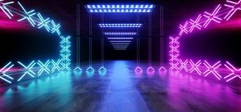 O laser de incandescência de néon da mostra subterrânea do túnel da estrutura da construção do metal de Sci Fi Asphalt Futuristic ilustração stock