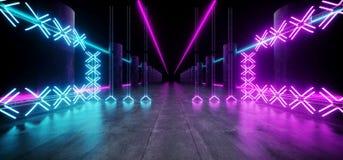 O laser de incandescência de néon da mostra subterrânea do túnel da estrutura da construção do metal de Sci Fi Asphalt Futuristic ilustração royalty free