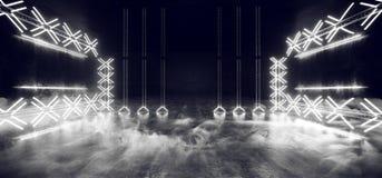 O laser de incandescência de néon da mostra subterrânea do túnel da estrutura da construção do metal de Sci Fi Asphalt Futuristic ilustração do vetor