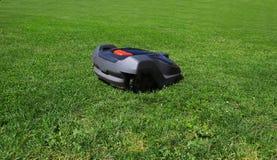 O lawnmower do robô sega o gramado, vista lateral Fotos de Stock
