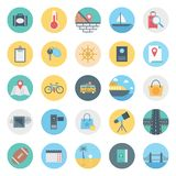 O lazer, o curso e o ícone isolado excursão do vetor consistem com saco, passaporte, sycle, estrada, telescópio, rugby e praia, ilustração royalty free