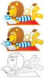 O leão coloca no tapete e lê o compartimento ilustrado Imagens de Stock
