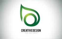 O Leaf Logo Letter Design with Green Leaf Outline Stock Photos