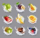 O leite dos frutos espirra o grupo realístico Fotos de Stock Royalty Free