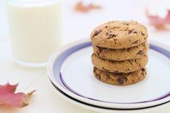 O leite e as cookies na pilha com queda sazonal da decoração saem Imagem de Stock