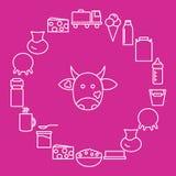O leite e os produtos láteos são ficados situado em torno da cabeça da vaca em um fundo cor-de-rosa Ícones da leiteria ao estilo  Imagem de Stock Royalty Free