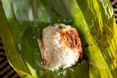 O lemak de Nasi é um prato perfumado malaio do arroz cozinhado no leite de coco e na folha pandan ou da banana Fotos de Stock